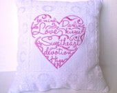 Sweetheart Pillow - Pink heart Pillow with lace trim - soft fluffy stuffing - 12x11 inch pillow - Pillow Cover or complete Pillow