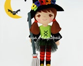 Halloween Witch Doll Digital Pattern - Witch Doll, Hat, Broom & Tutu Tutorial - PDF File - DIY Instant Download