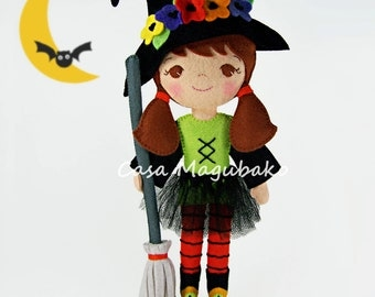 Halloween Witch Doll Digital Pattern - Witch Doll, Hat, Broom & Tutu Tutorial - PDF File - DIY Instant Download