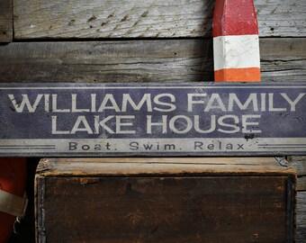 Lake House Sign, Custom Lake Sign, Lake House Decor, Family Lake Sign, Sign For Lake House, Lake - Rustic Hand Made Wooden Sign ENS1000050