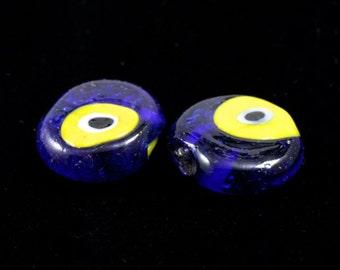 16mm Cobalt and Yellow Evil Eye (4 Pcs) #733