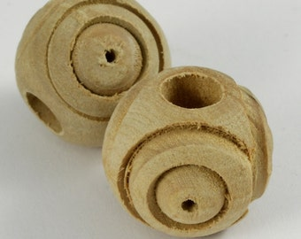 18mm Round Olive Wood Carved Bead #1767