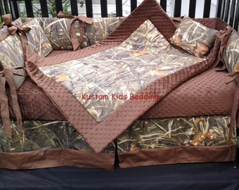 New 7 piece Max 4 brown real tree CAMOUFLAGE baby crib bedding set w/ brown minky dot fabric camo