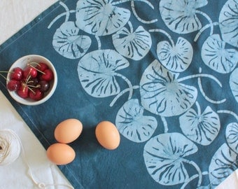 indigo blue lilypad batik tea towel