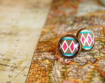 geometric tribal pattern framed post earrings- happy camper-antique brass
