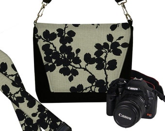 SET Dslr Camera Bag and Dslr Camera Strap, Camera Bag Slr and Camera Neck Strap, floral pods black gray MTO