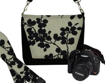 SET Dslr Camera Bag and Dslr Camera Strap, Camera Bag Slr and Camera Neck Strap, floral pods black gray MTO