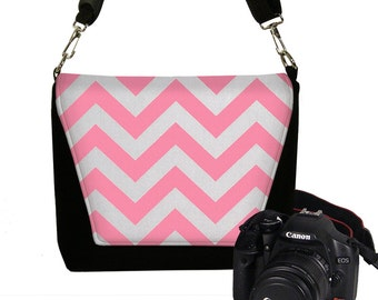 CLEARANCE Pink Chevron Camera Bag DSLR, Padded Water Resistant Camera Bag Slr, Camera Bag Purse, Womens Camera Handbag RTS