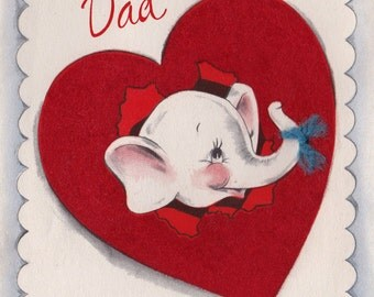 Vintage 1950s A Valentine For You Dad Elephant Greetings Card (B7)