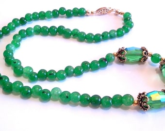 Malaysia Jade Green Stone Bead Necklace, Faceted Crystal Jewelry, Handmade Beaded Necklace