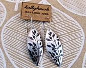 Silver Earrings with Hand Printed Flora Oblong * SALE * Coupon Codes