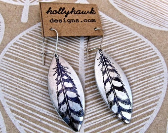 Silver Earrings with Hand Printed Feather Oblong