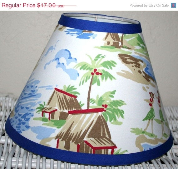 ON SALE Boys Blue Santa Barbara Beach Lampshade  handmade with Pottery Barn Kids fabric, Lamp Shade, Any Color Trim, 4 Sizes