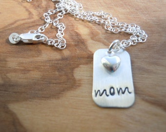 sterling silver mom necklace with puffy heart charm