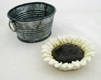 Creamy White Italian Small Sunflower Ceramic Tea Bag Holder Small Spoon Rest Trinket Dish for Kitchen or Bath Floral Keepsake Bridal Gift