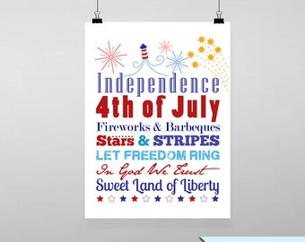 Independence Day Subway Printable Wall Art by BitsyCreations Instant Download