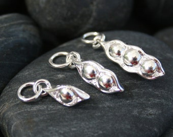 Pea Pod charms - set of three Silver Plated Bronze