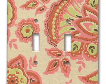 1960's Vintage Hippie Chic Orange, Pink, Green on Cream Floral Paisley Wallpaper Double Switch Plate