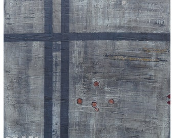 ORIGINAL Abstract Painting 'Lights in the Sky' 40 x 40 inches. Bitumen, Acrylic, Enamel, and Ink on Canvas.