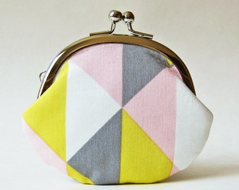 coin purse / change purse/ kiss lock coin purse - triangles in yellow, gray and pink pastel geometric, handmade clasp purse, kiss lock pouch