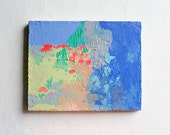 11x14 Original Acrylic Painting // Title: Let's Play // Texture / Bright / Blue / Hot Orange / Peach / Green / Yellow