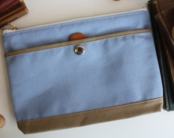 the utility bag - pale blue + sand grain  - medium canvas zipper utility cosmetic  office school pouch
