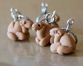 Camel Polymer Clay Knitting Stitch Markers Caravan of 4 Miniature Sculpted Animal Knit, Crochet Accessories