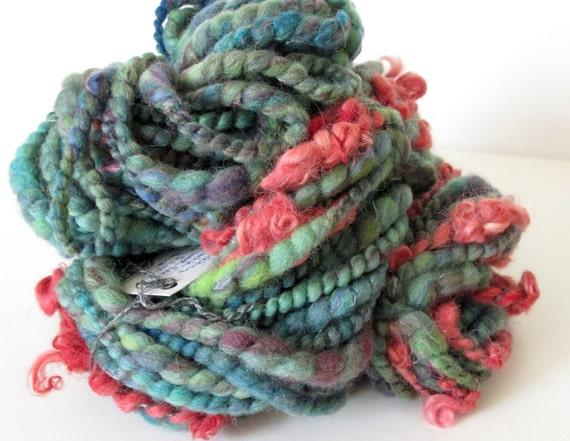 FLOWER BUD -  Handspun Art Yarn, Super Bulky 43 yards, 5.1 oz. Wool Locks Waldorf Doll Hair Knitting Crochet Weaving Felting Fiber Arts