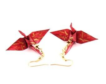 Believe in the Stars Origami Crane Earrings featuring Gold Believe Kanji on Oxblood Burgundy Jewelry