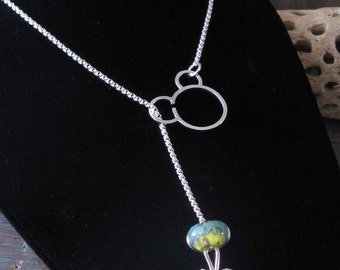 """AGB Sterling silver 20"""" interchangeable rolo chain lariat necklace"""