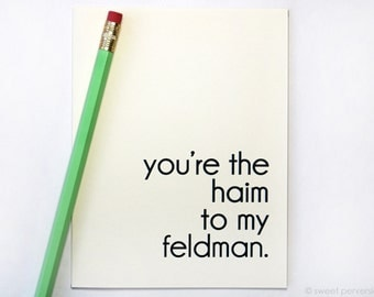 Birthday Card Blank. Haim To Feldman. Friendship Card. Love Card. Anniversary Card. Best Friends.