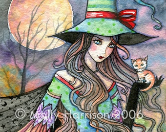 Witch with Winged Orange Tabby Cat Kitten - Watercolor Fine Art Giclee Print by Molly Harrison 8 x 8