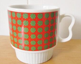 vintage red green mug Japan