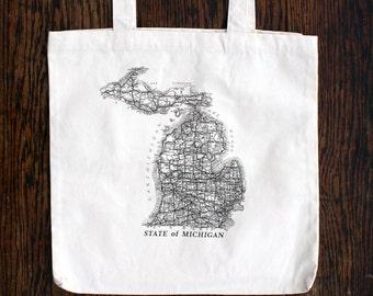 Michigan Vintage Map Tote Bag