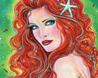 Fire and Ice Mermaid MRMD print  8x10.50 by Renee L. Lavoie