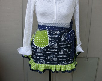Aprons - Seattle Seahawks Womens Aprons - Blue Aprons - Green Aprons - Handmade Seahawks Aprons - Tailgate Party Aprons - Football Aprons