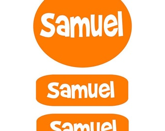 Kids Clothing Labels Orange | Clothing Labels for Camp | Kids Personalized Clothes Labels | Peel and Stick Clothes Labels | Daycare Labels