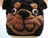 Adult Size Rottweiler Hand Made Crochet Hat