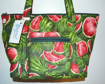 Quilted Fabric Handbag with a Beautiful Collage of Watermelons