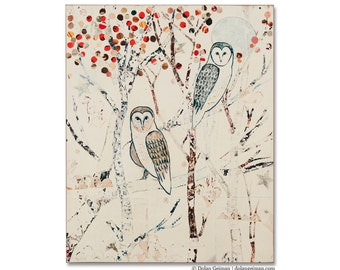 Barn Owls at Midnight Print on Wood