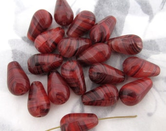 15 pcs. Czech glass tear pear striped beads in red brown 15x9mm - f4360
