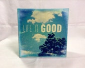 Life is Good  mixed media wood panel