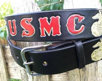 USMC Gift - EGA - Leather Belt - Black
