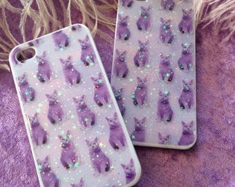 White and Purple Cat Print Glitter Phone Case for iPhone 4/4S, 5, 5c or 6