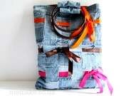 Denim bag cotton tote blue orange pink brown ribbons purse recycled denim eco fashion upcycled jeans memake handmade
