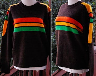 TAHOE 1970's 80's Vintage Men's Dark Brown Ski Sweater with Orange Green Gold Stripes // by SILTON California // size Small Med