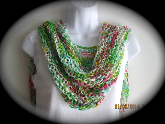 Hand knit silky ribbon shawl in pink, green, turquoise and white, lightweight wrap, knit ribbon stole, pashmina