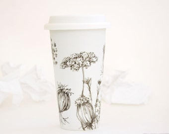 Eco-Friendly Ceramic Travel Mug - Queen Anne's Lace | Drawing Collection