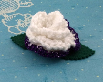 Crocheted Rose Hair Clip - White and Sparkly Purple (SWG-HC-MPRR01)