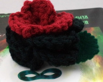 Crocheted Rose Barrette - Dark Red and Black (SWG-HB-VIHQ01)